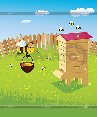 Beehive and bees | Stock Vector Graphics |ID 3054040