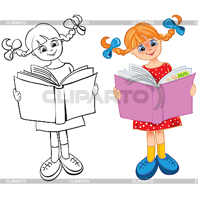 Girl reads the book | Stock Vector Graphics |ID 3054058