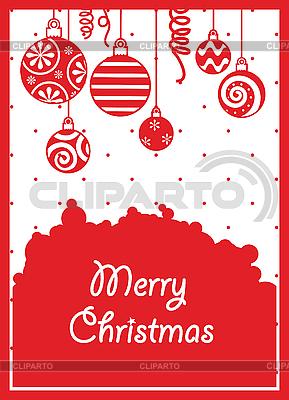 Rote Weihnachtskarte mit Kugeln | Stock Vektorgrafik |ID 3055014