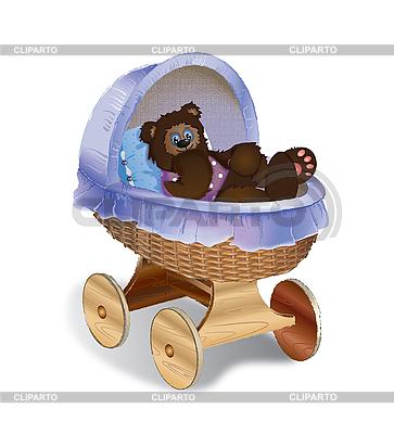 Perambulator z bear cub | Stockowa ilustracja wysokiej rozdzielczości |ID 3056158