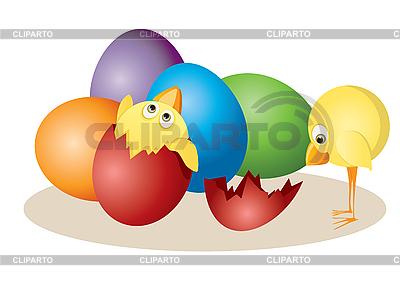 Jaja wielkanocne i kurcząt | Klipart wektorowy |ID 3056954