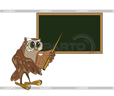 Owl-teacher stands at the blackboard | Stock Vector Graphics |ID 3057012