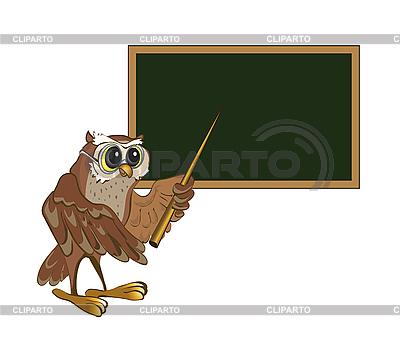 Sowa nauczyciel stoi przy tablicy | Klipart wektorowy |ID 3057012