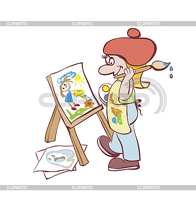 Artist painting at the easel | Stock Vector Graphics |ID 3057030