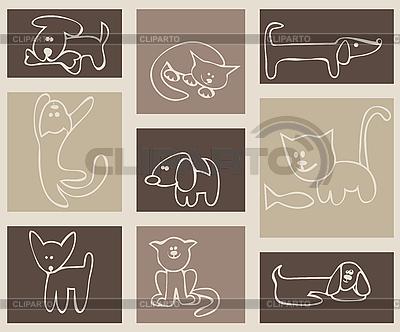 Кошки и собаки | Векторный клипарт |ID 3057070
