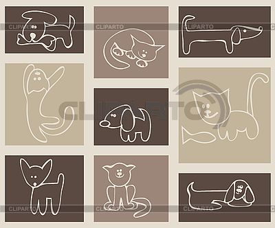 Katzen und Hunde | Stock Vektorgrafik |ID 3057070