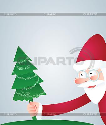 Weihnachtsmann und Weihnachtsbaum | Stock Vektorgrafik |ID 3079545