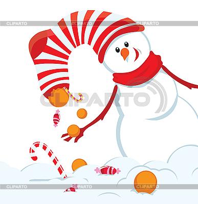Weihnachtskarte mit Schneemann   Stock Vektorgrafik  ID 3106953