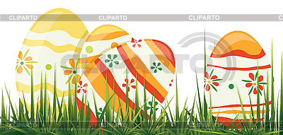 Easter eggs in grass   Stock Vector Graphics  ID 3149028
