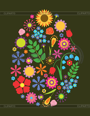 Flowers easter egg | Stock Vector Graphics |ID 3227689