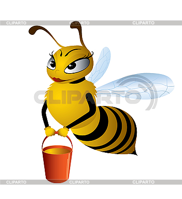 Pretty bee with honey | Stock Vector Graphics |ID 3051984