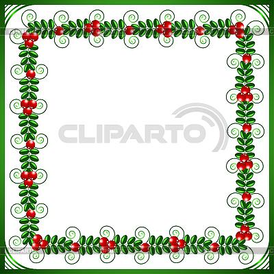 Zielona ramka z liści i jagód | Klipart wektorowy |ID 3052757