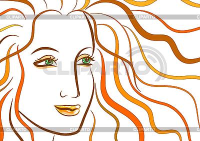 Piękna twarz kobiety z imbiru falowane włosy | Klipart wektorowy |ID 3052826