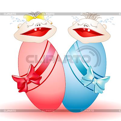 Schreiende Babys-Zwillinge Junge und Mädchen | Stock Vektorgrafik |ID 3052856