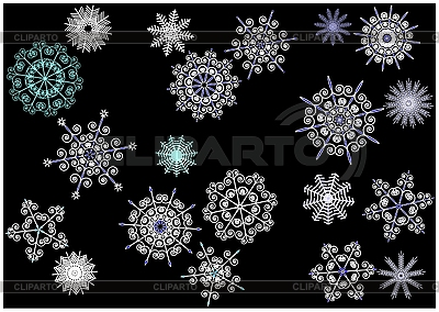 Snowflakes on black background   Stock Vector Graphics  ID 3062082
