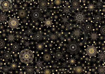 Gold-Pattern mit Schneeflocken | Stock Vektorgrafik |ID 3062520
