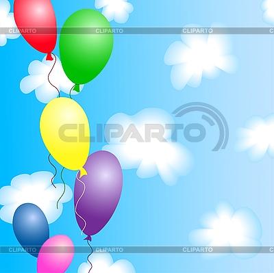 Bunte Luftballons im blauen Himmel mit Wolken | Stock Vektorgrafik |ID 3062659