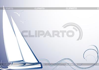 Yate de olas azules | Ilustración vectorial de stock |ID 3063004