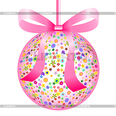Pink Ball of Colorful Flowers with Bow | Stock Vector Graphics |ID 3063006