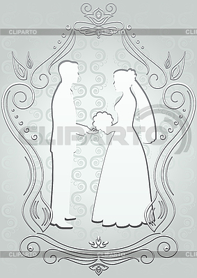 Silhouettes of the bride and groom in frame | Stock Vector Graphics |ID 3103261