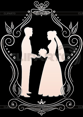 Silhouettes of the bride and groom | Stock Vector Graphics |ID 3108912