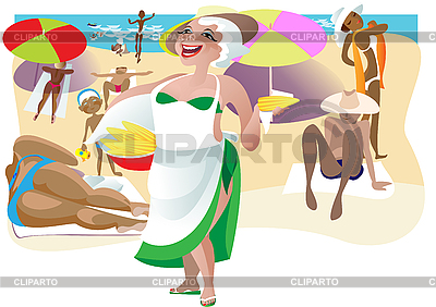 Mais-Verkäuferin am Strand | Stock Vektorgrafik |ID 3058075