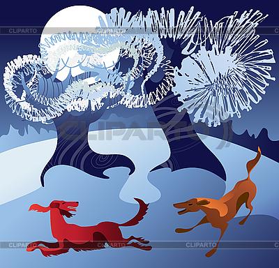 Psy bawiące się w śniegu | Klipart wektorowy |ID 3063255