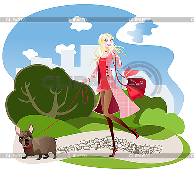 Walking with black French Bulldog | Stock Vector Graphics |ID 3072154