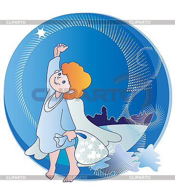 작은 천사와 크리스마스 별 | 벡터 클립 아트 |ID 3081291