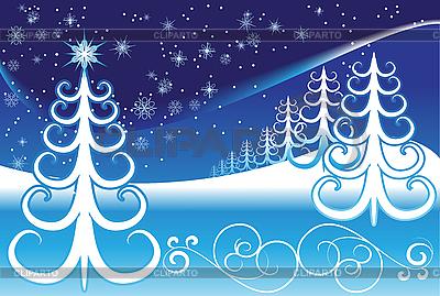 程式化的冬季景观 | 向量插图 |ID 3097265