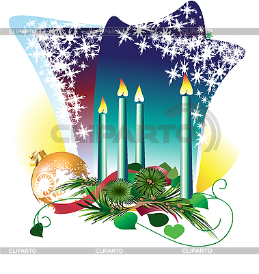 Candles and Christmas ball | Stock Vector Graphics |ID 3109040