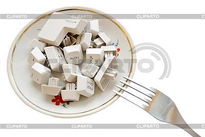 Tastatur-Tasten auf einem Teller | Foto mit hoher Auflösung |ID 3054506