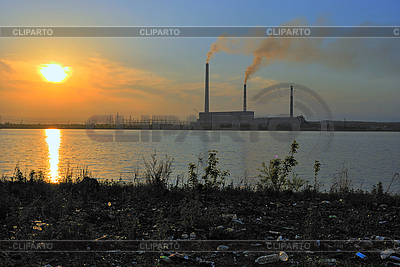 Power station at sunset | High resolution stock photo |ID 3111289