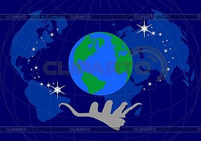 地球和人类的手掌 | 向量插图 |ID 3059373