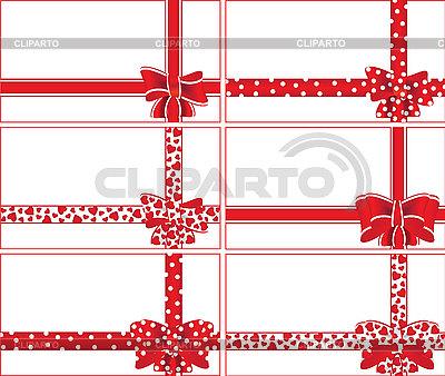 红色的蝴蝶结和丝带礼盒 | 向量插图 |ID 3059383