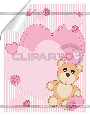 Valentinstagkarte mit Herzen und Teddybär | Stock Vektorgrafik |ID 3119973