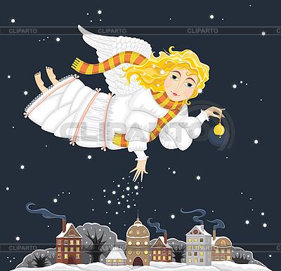 Christmas Angel dziewczyna na mieście nocy | Klipart wektorowy |ID 3117989