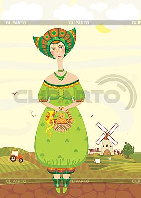 시골 풍경의 민속 의상을 입은 소녀 | 벡터 클립 아트 |ID 3117995