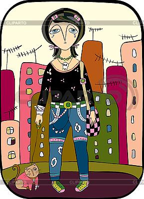 女孩走在城市猫 | 向量插图 |ID 3118009