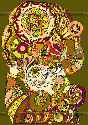 Gesicht des Mädchens aus den Schnörkelmustern | Illustration mit hoher Auflösung |ID 3118012