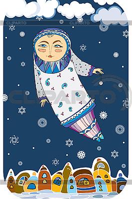 Zima bajki dziewczyna leci nad miastem | Klipart wektorowy |ID 3118076
