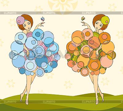 Dziewczynki bliźniaczki | Klipart wektorowy |ID 3118086