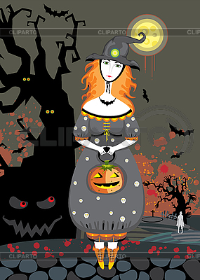 Halloween witch in cemetery at night | Stock Vector Graphics |ID 3118088