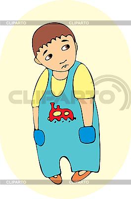 파란색 바지에 어린 소년 | 벡터 클립 아트 |ID 3123395