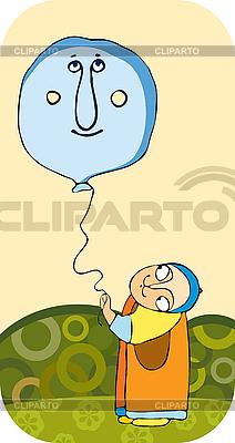Kind mit einem Luftballon | Stock Vektorgrafik |ID 3123433