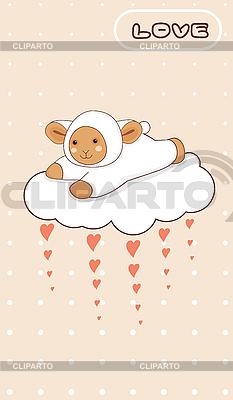 Mała owieczka latania na miłości chmurze | Klipart wektorowy |ID 3124248