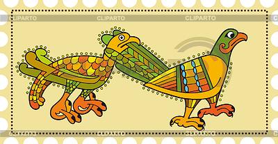 Franqueo estampilla con aves celta decorativos | Ilustración vectorial de stock |ID 3280376