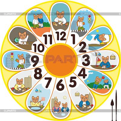 Clock Cat Schoolchild | Stock Vector Graphics |ID 3376733