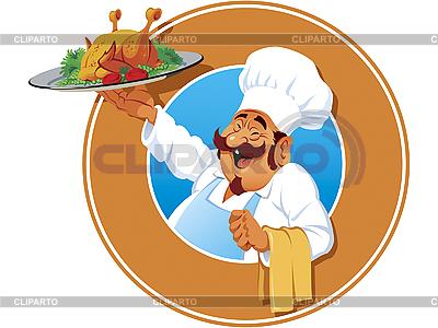 Jolly cook z pieczonym kurczakiem | Klipart wektorowy |ID 3066723
