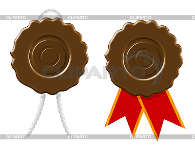 Blank wax seal with cord and ribbon   Stock Vector Graphics  ID 3143592